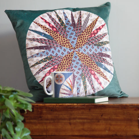 Mariners Compass Velvet Cushion Cover Panel