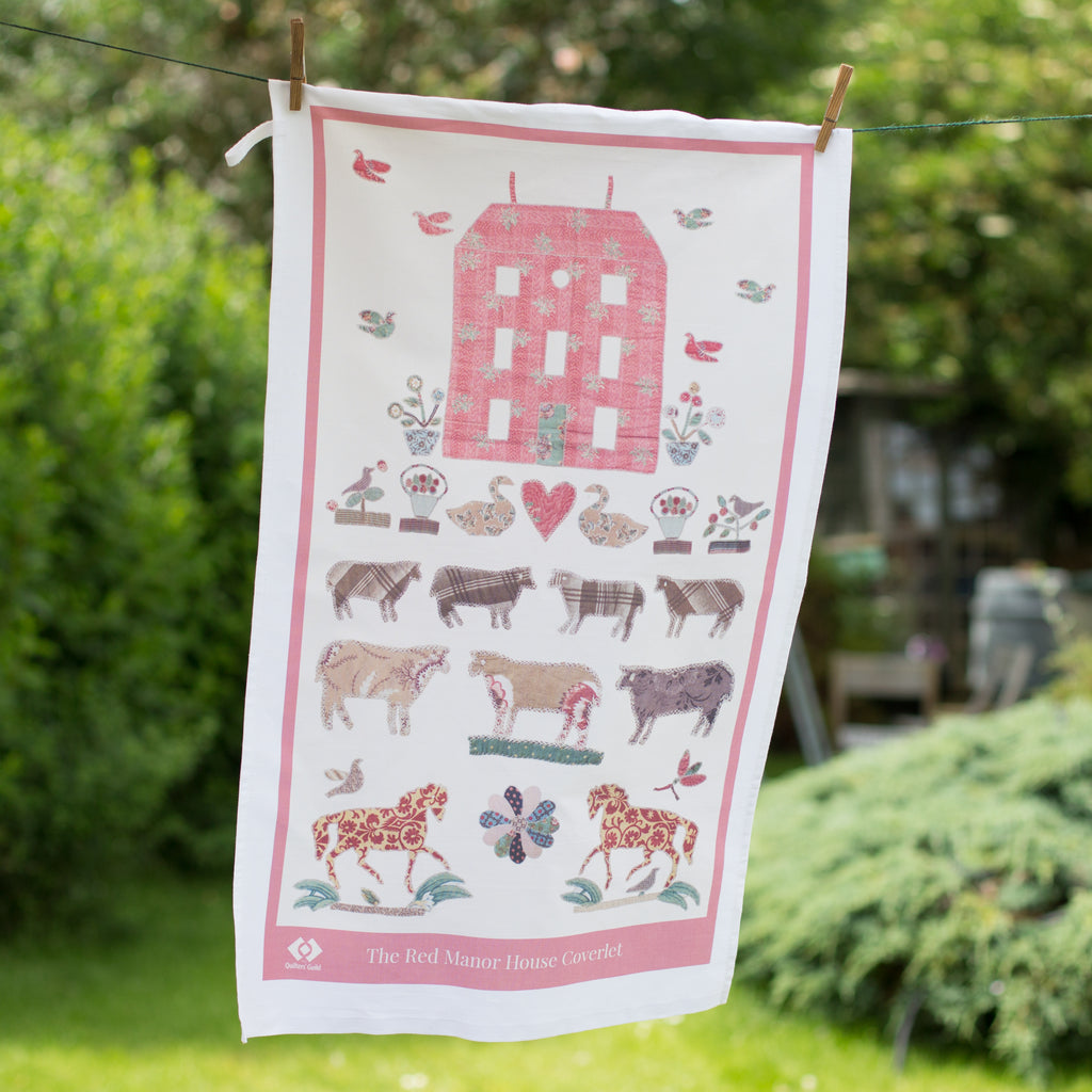 Red Manor House Tea Towel