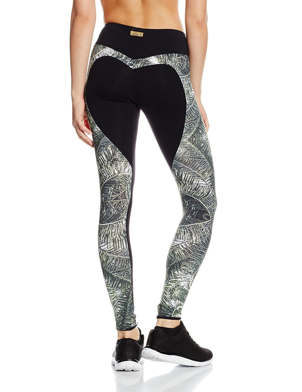 Lycra sport tights in palm leaf print