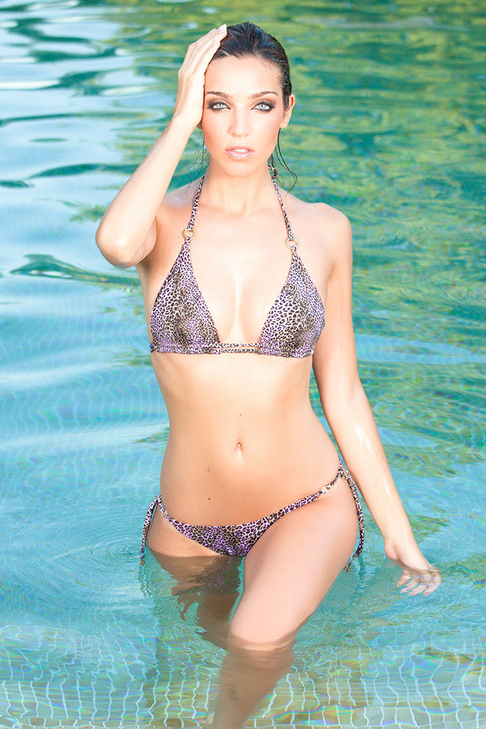 Purple Print Triangle Bikini