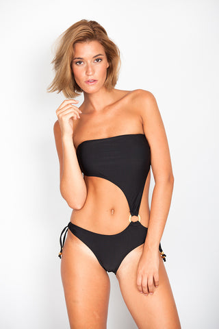 Black Trikini with Lateral Ring and Thin Bows