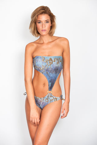 India Print Trikini with Side Ring and Thin Bows