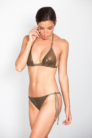 Green Snake Triangle Bikini