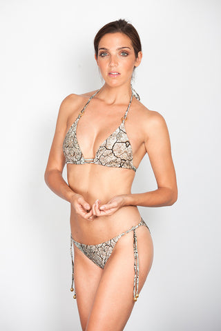 Cracks Print Triangle Bikini