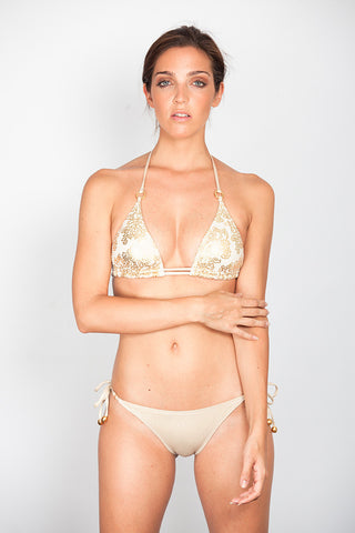 Golden Print Triangle Bikini