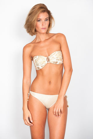 Golden Print Bandeau with Oval Link