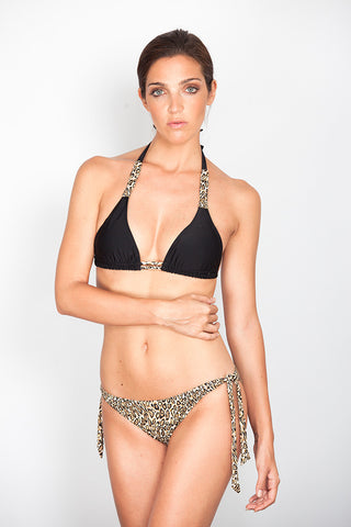 Black Print Triangle Pleated Bikini