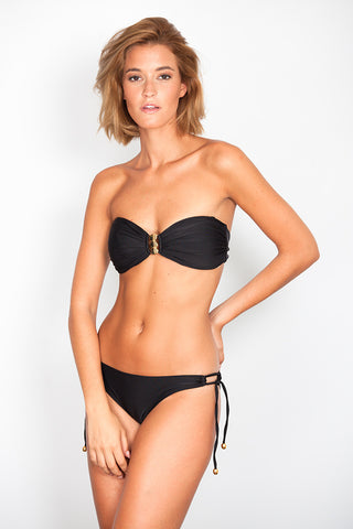 Black Bandeau with Triple Coin Link