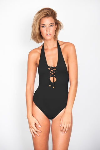 Black Zig-Zag Swimsuit