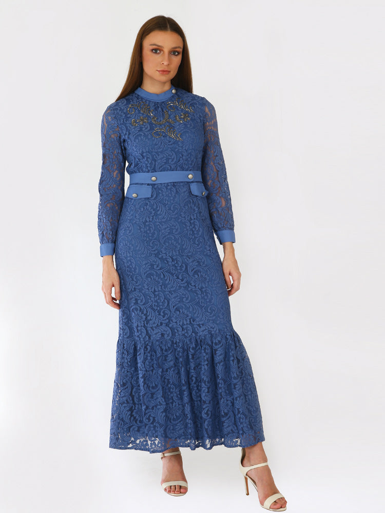 1943078-Embellished Lace Maxi Dress - Montania Shop