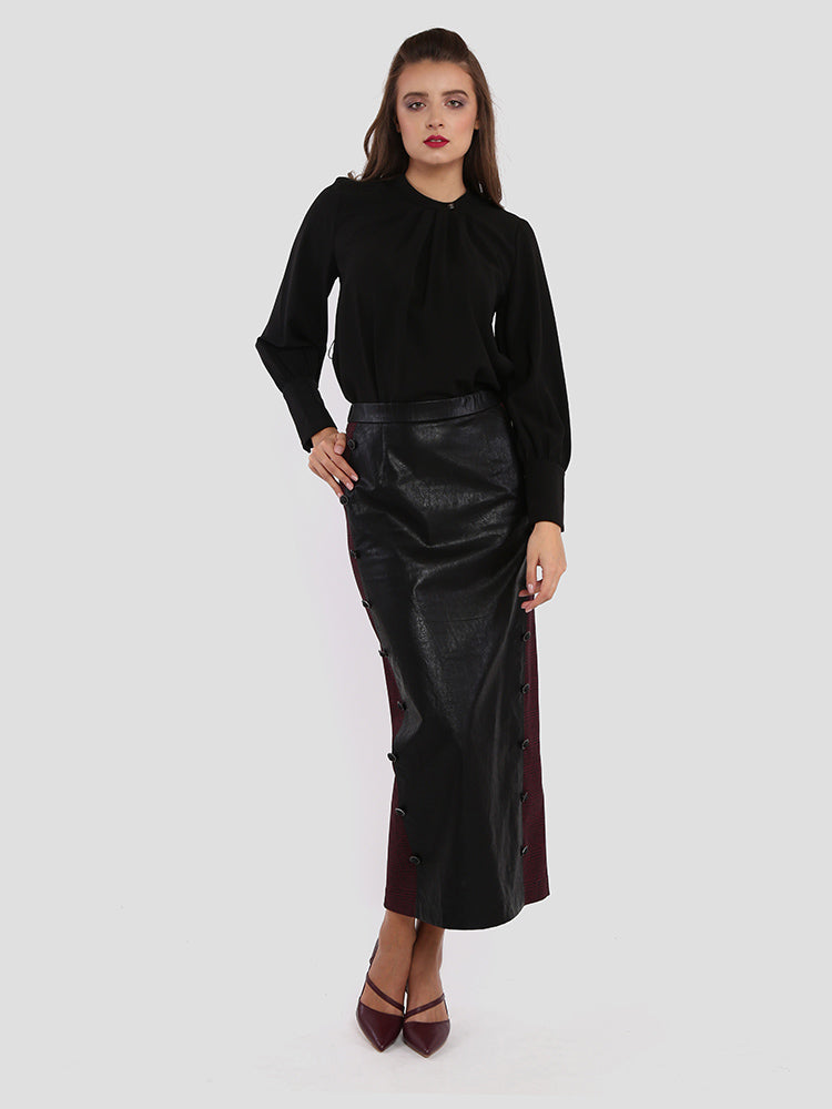 Back Split Pu Pencil Skirt