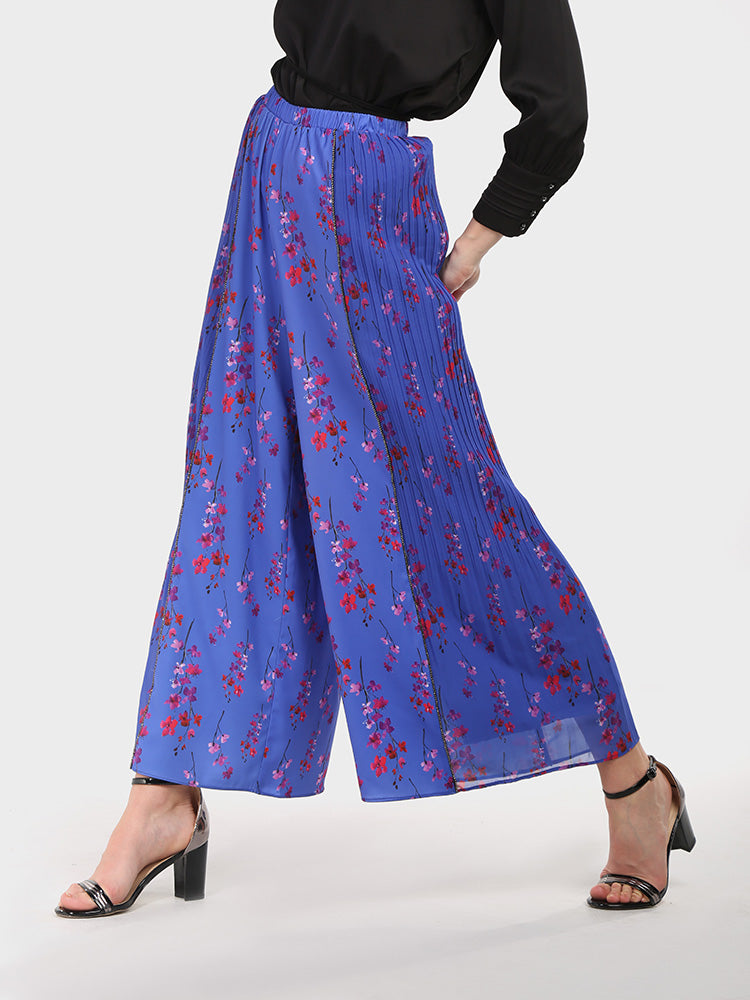 Flared Wide Leg Floral Print Trouser