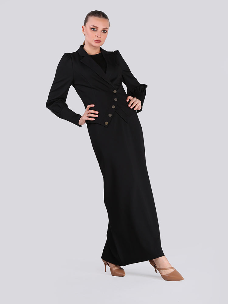 2006015- Single Breasted Layered Black Long Dress - Montania Shop