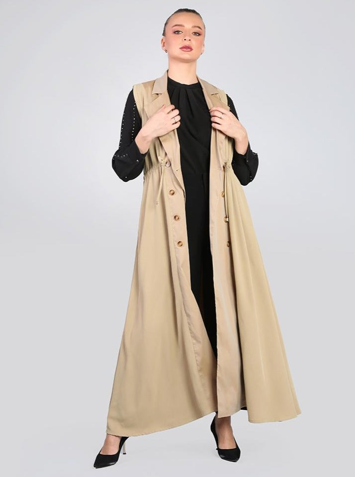 2008009- Sleeveless Gabardine Trench Dress Double Breasted button Fastening - Montania Shop