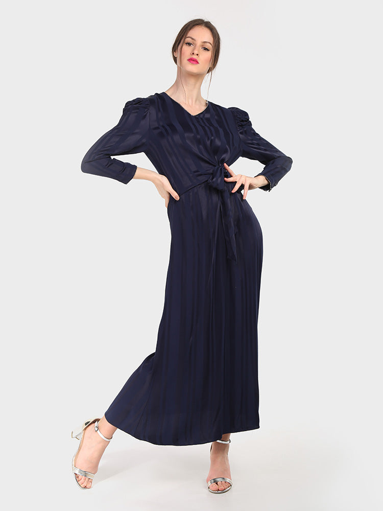 V Neck Long Sleeve  Maxi Dress