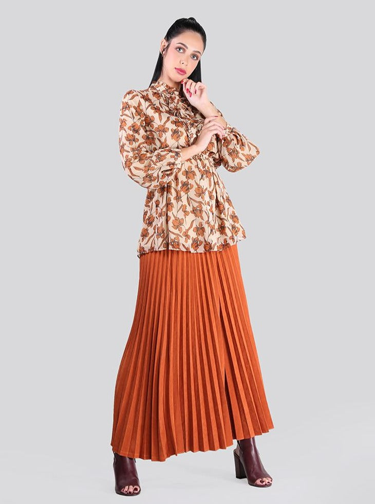 2101001- Belted Pleated Maxi Skirt - Montania Shop