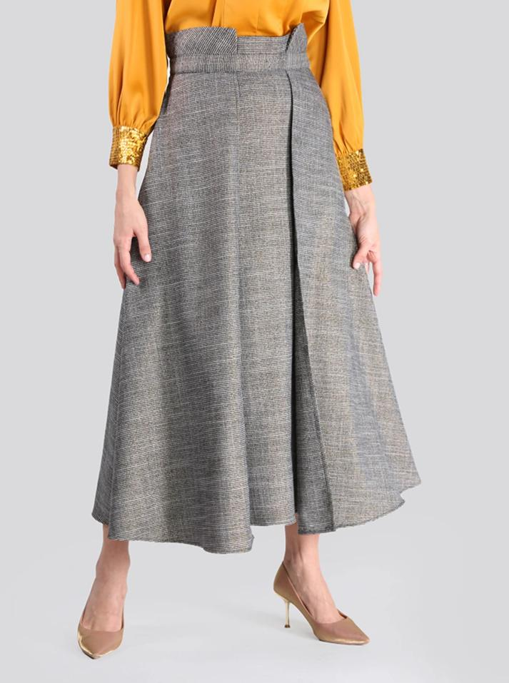 2101004- High Waist Gold Checked Jacquard  Layered Skirt - Montania Shop