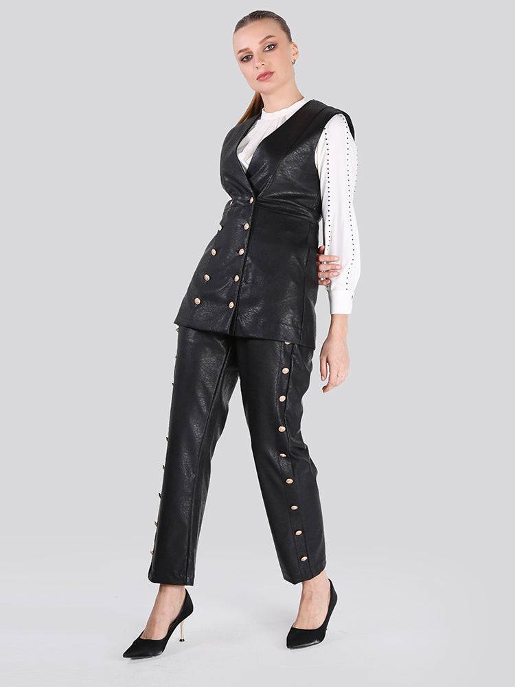 2108001- Double Breasted Buttons Fastening Leather Vest - Montania Shop