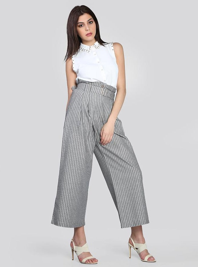 2104009- Paperbag-Waist Palazzo Striped Pants - Montania Shop