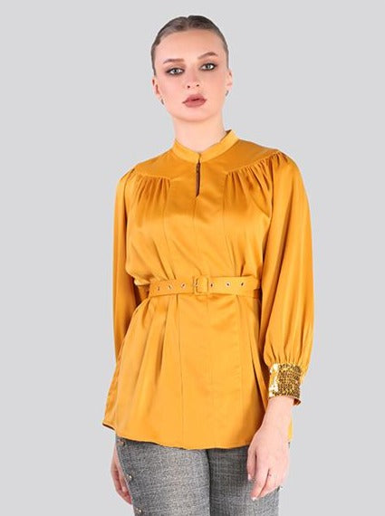 2105001- Gathered Yoke Blouse with Sequin on Cuffs - Montania Shop