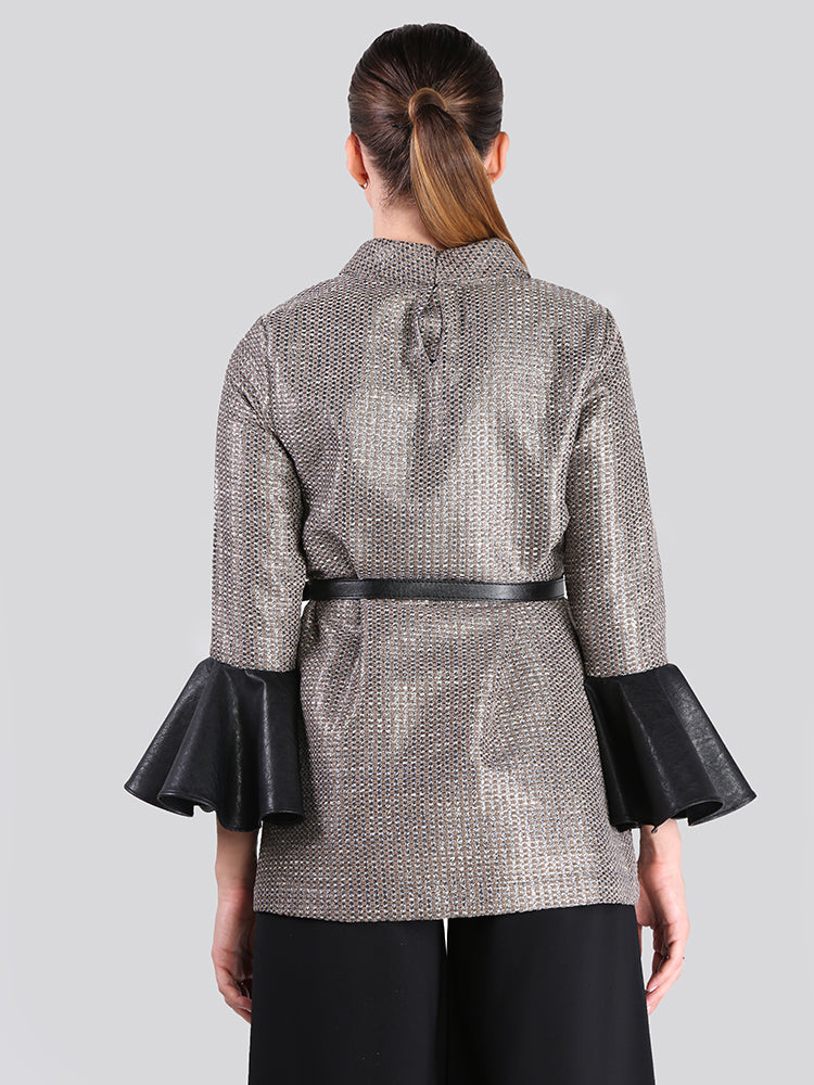 2105005- Metallic Tweed High Neck Blouse with Leather Bell Cuffs - Montania Shop