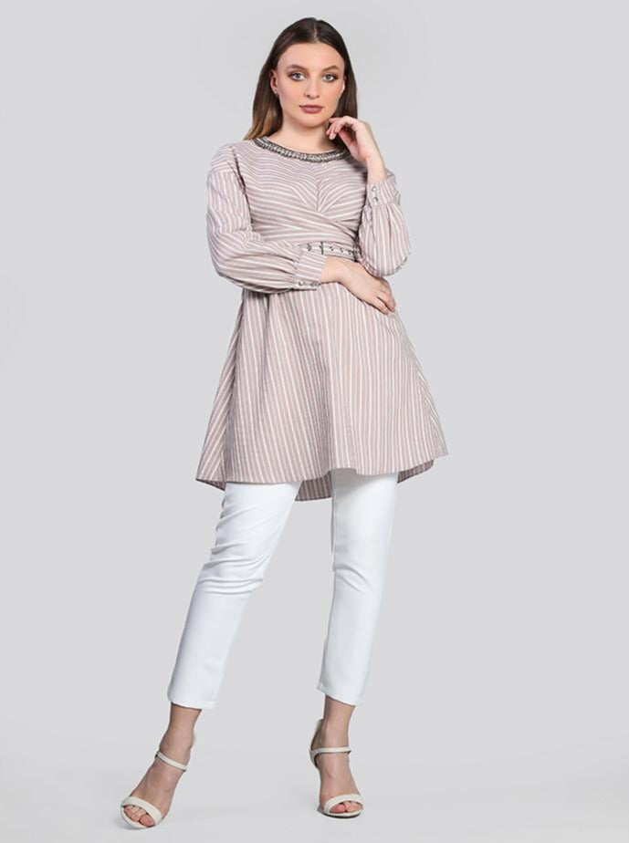 2126002- Striped Long Sleeves Wrap Waist Blouse - Montania Shop