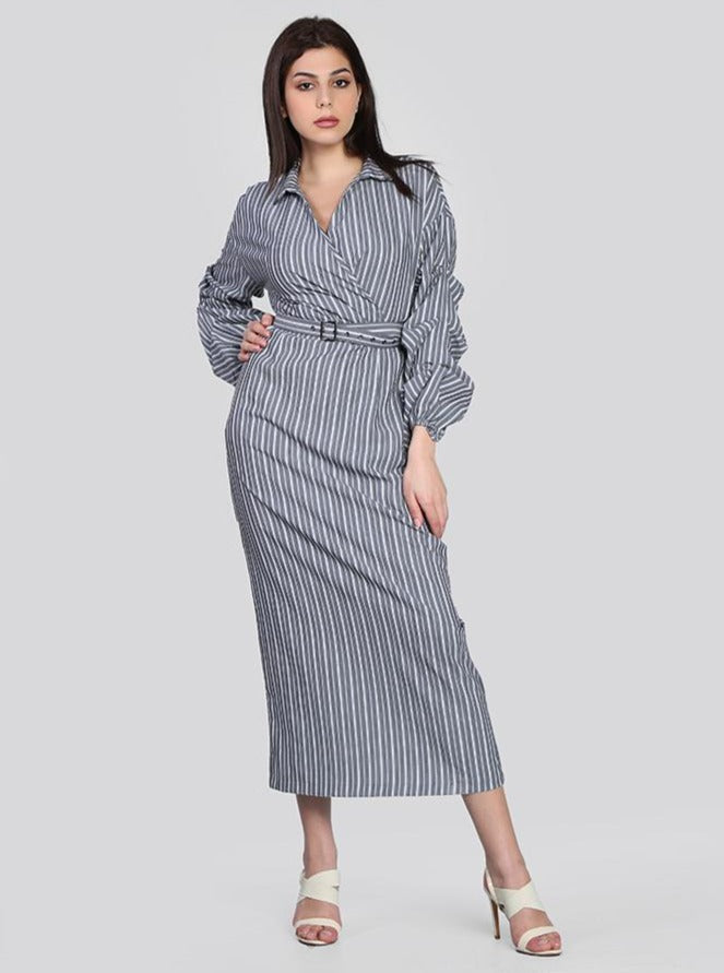 2143011- Long Sleeve Ruffle Striped Wrap Maxi Dress - Montania Shop