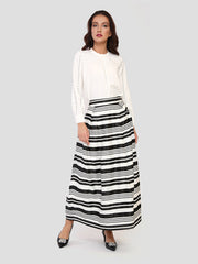 Striped Skirt With Box Pleats