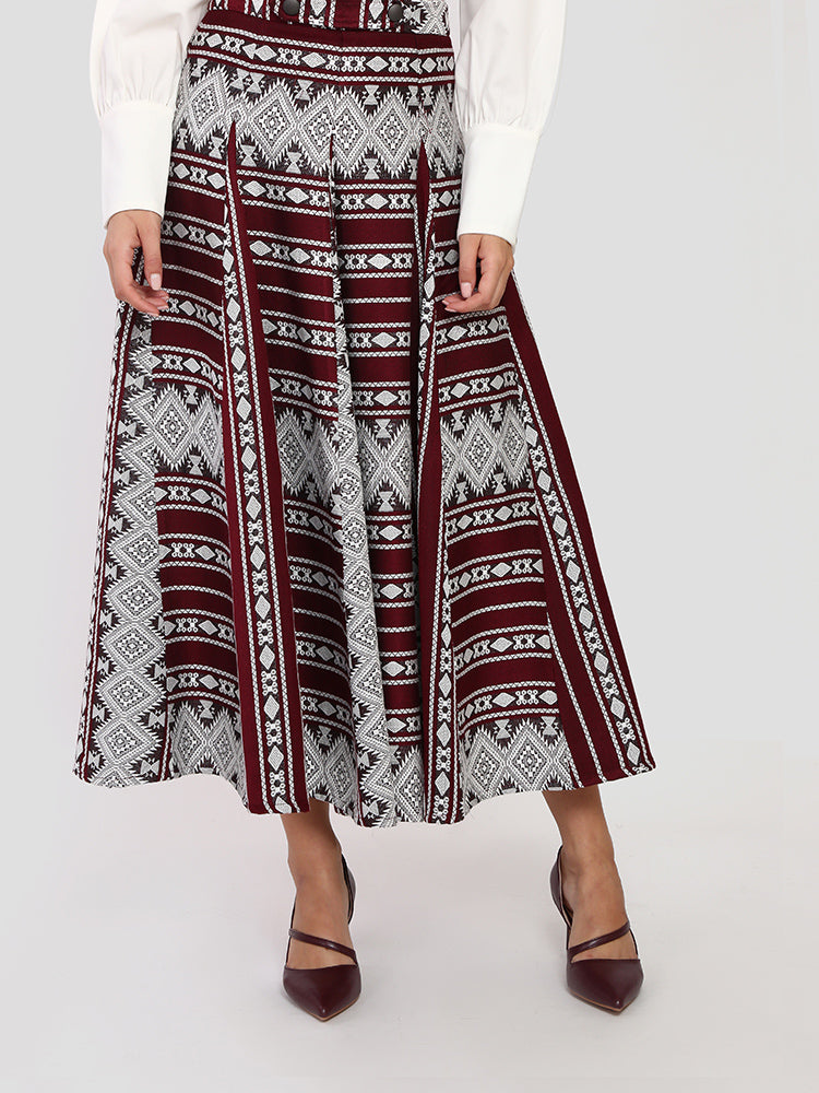 Stitched Flare Printed Skirt