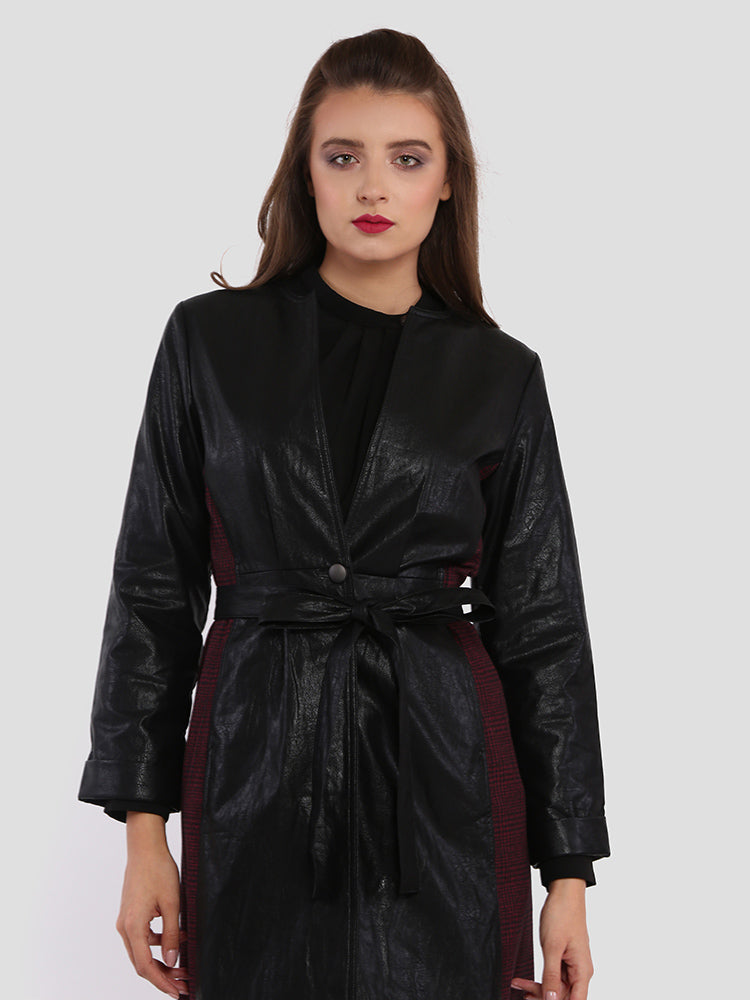 Open Front Faux Leather Jacket