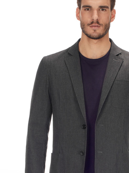 The Casual Blazer in Charcoal Canvas