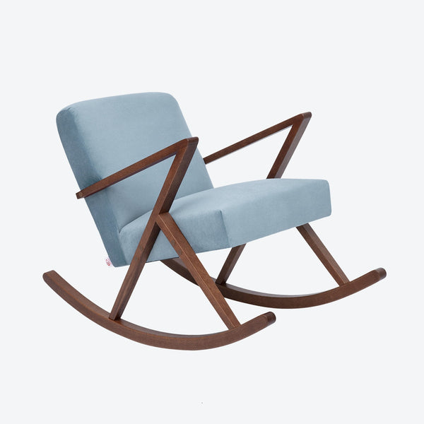 Retrostar Rocking Chair - Sternzeit Design - Velvet Line in Ice Grey | Retro Armchair