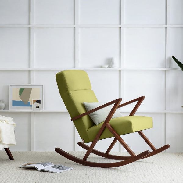 Retrostar Rocking Lounge Chair - Sternzeit Design - Velvet Line in Apple Green | Retro Armchair