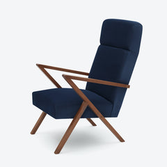 Retrostar Lounge Chair - Sternzeit Design - Velvet Line in Navy Blue | Retro Armchair