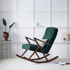 Retrostar Rocking Lounge Chair - Sternzeit Design - Velvet Line in Hunter Green | Retro Armchair