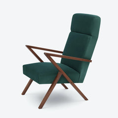 Retrostar Lounge Chair - Sternzeit Design - Velvet Line in Hunter Green | Retro Armchair
