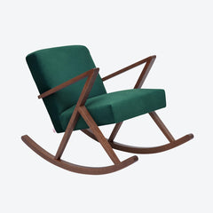 Retrostar Rocking Chair - Sternzeit Design - Velvet Line in Hunter Green | Retro Armchair
