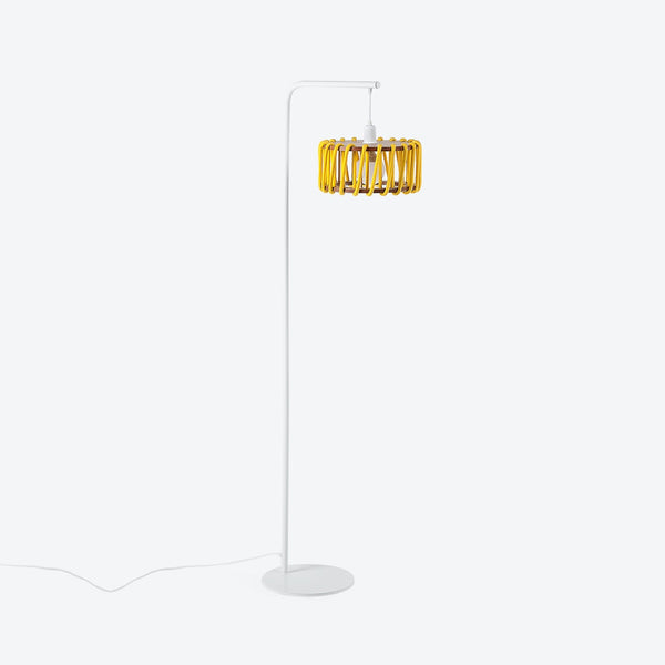 White Macaron Floor Lamp - Yellow Rope Lamp - by Emko-Primrose Homeware