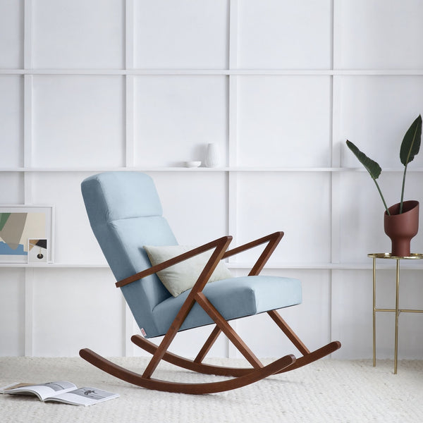 Retrostar Rocking Lounge Chair - Sternzeit Design - Velvet Line in Ice Grey | Retro Armchair