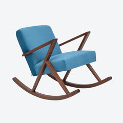 Retrostar Rocking Chair - Sternzeit Design - Velvet Line in Ocean Blue | Retro Armchair