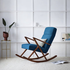 Retrostar Rocking Lounge Chair - Sternzeit Design - Velvet Line in Royal Blue | Retro Armchair