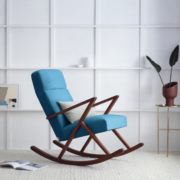 Retrostar Rocking Lounge Chair - Sternzeit Design - Velvet Line in Ocean Blue | Retro Armchair