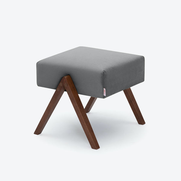 Retrostar Footstool - Velvet Line in Grey | Sternzeit Design