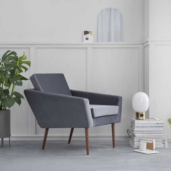 Supernova Chair - Velvet Line in Ice Grey - Sternzeit Design | Occasional Chair
