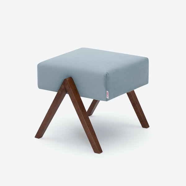 Retrostar Footstool - Velvet Line in Ice Grey | Sternzeit Design