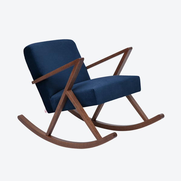 Retrostar Rocking Chair - Sternzeit Design - Velvet Line in Navy Blue | Retro Armchair
