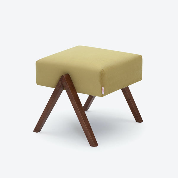 Retrostar Footstool - Velvet Line in Lemon Yellow | Sternzeit Design