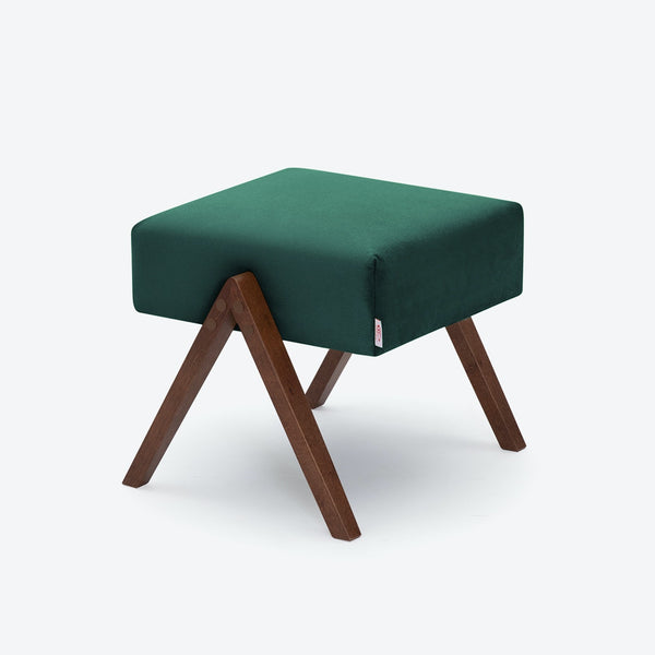 Retrostar Footstool - Velvet Line in Hunter-Green | Sternzeit Design
