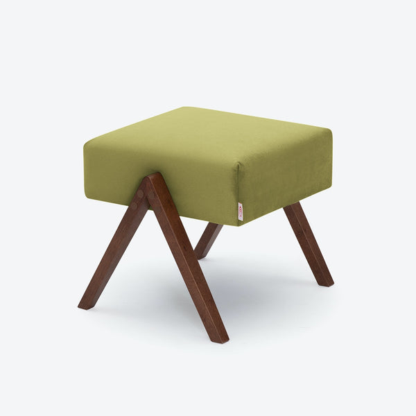 Retrostar Footstool - Velvet Line in Apple Green | Sternzeit Design