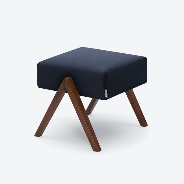 Retrostar Footstool - Velvet Line in Navy Blue | Sternzeit Design